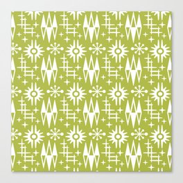 Mid Century Modern Atomic Space Age Pattern Chartreuse Canvas Print