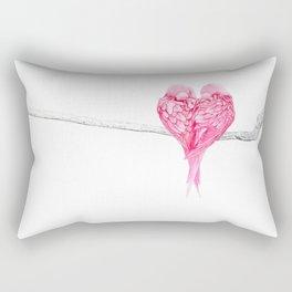Pink Heart Birds Love Rectangular Pillow