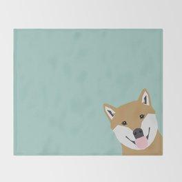 Shiba Inu Peek - cute shiba doge peeking funny dog art print mint turquoise customizable dog gift Throw Blanket