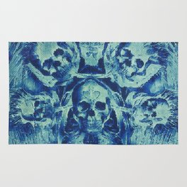 Blue Skulls (Abstract Surreal Blue Halloween Ghost Hour) Rug