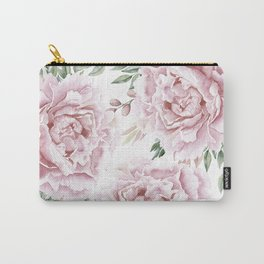 Girly Pastel Pink Roses Garden Carry-All Pouch