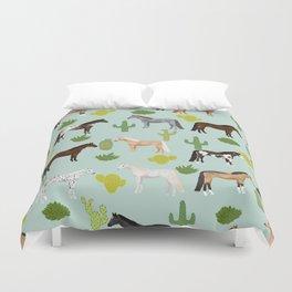 Horses Cactus - horse, cactus, western, texas, cowgirl, girl, cactus fabric, blanket, horse Duvet Cover