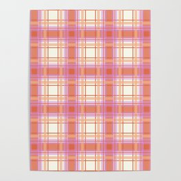 Peach Plaid with Pink and Yellow Poster