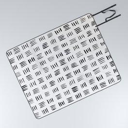 Lines on Lines // black Picnic Blanket
