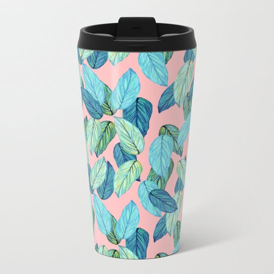 Tropical leaves on Pink Metal Travel Mug