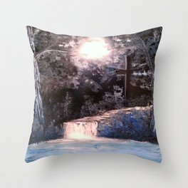 Blues In Nature Waterfall Spray Painting Throw Pillow