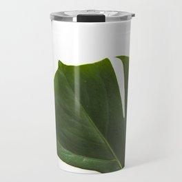 Minimal capture of monstera leaf Travel Mug