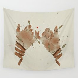 Red String of fate Wall Tapestry
