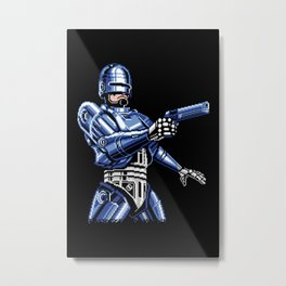 Robocop Pixel Art Metal Print