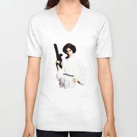 princess leia V-neck T-shirts featuring Princess Leia by Ms. Givens