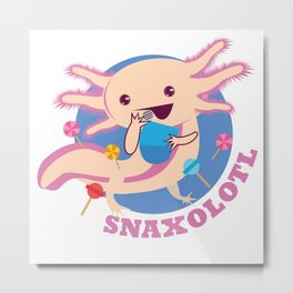 Axolotl Snxalotl Sweets Aquarium Pet Animal Gift Metal Print