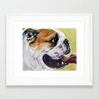 english bulldog Framed Art Prints featuring English Bulldog  by WOOF Factory
