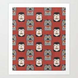 Vampires vs Werewolves (Patterns Please) Art Print