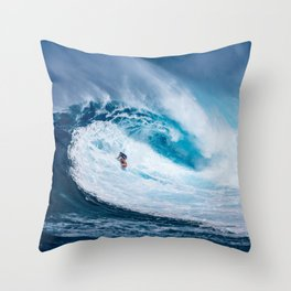 Wave and Surfer Throw Pillow