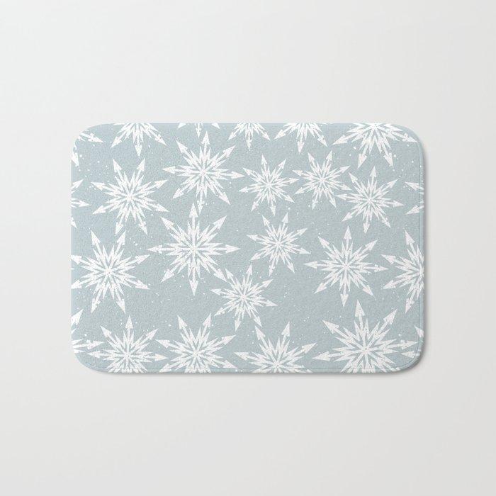 Merry Christmas Wintertime - Snowflakes pattern Bath Mat