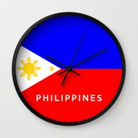 philippines Wall Clocks featuring flag of Philippines by tony tudor