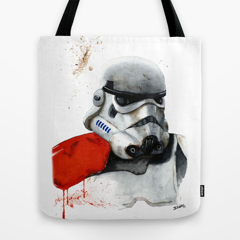 Sandtrooper Stormtrooper Watercolor Star Empire Tote Bag by Ilores TBG8304750