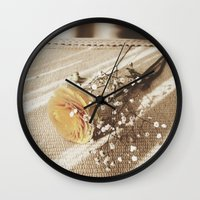 poetry Wall Clocks featuring Vintage poetry by Viviana Gonzalez