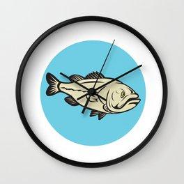 Largemouth Bass Fish Side Circle Cartoon Wall Clock