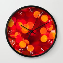 Red yellow sparkles bokeh abstract Wall Clock