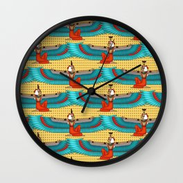 Isis and Nephtys - Turquoise and yellow Wall Clock
