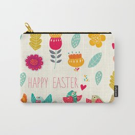Ivory teal orange floral birds Happy Easter typography Carry-All Pouch