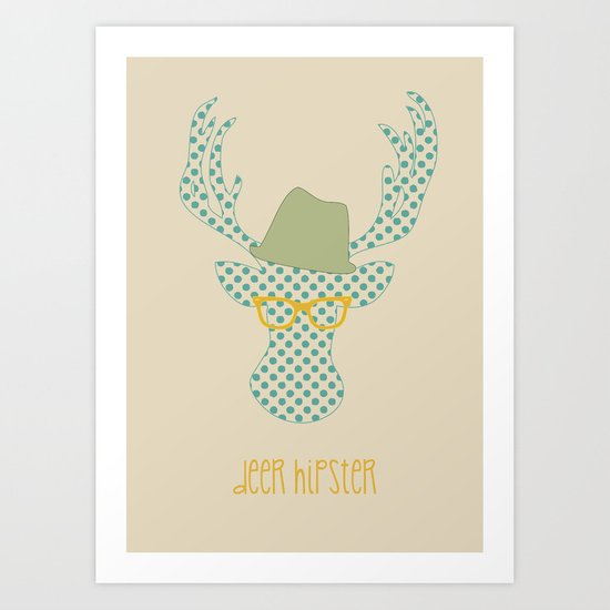 Deer Hipster Art Print