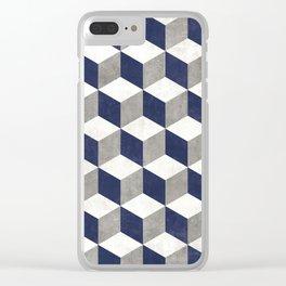 Geometric Cube Pattern - Concrete Gray, White, Blue Clear iPhone Case