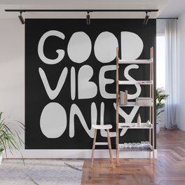 GOOD VIBES ONLY (black) - Handlettered typography Wall Mural