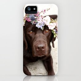 Flower Crown Beautiful Dog Portrait iPhone Case