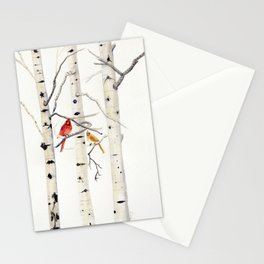 Birch Trees and Cardinal Stationery Cards