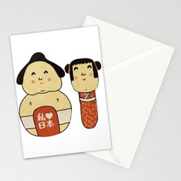 Kokeshi and sumo i love japan 日本 Japanese traditional doll sakura Stationery Cards