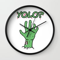 yolo Wall Clocks featuring Yolo? by theDesign Attic