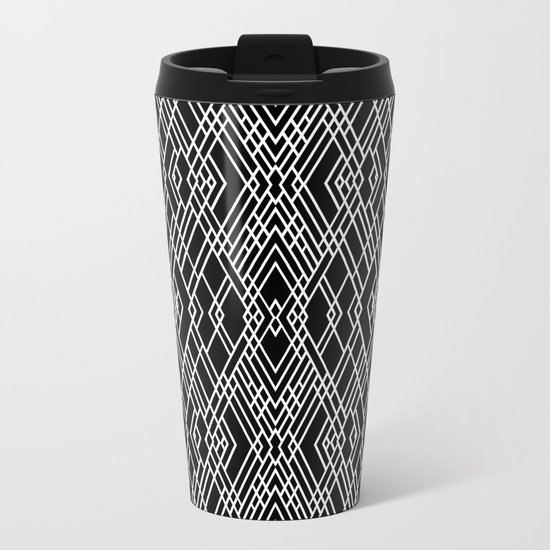 Art Deco Black and White Metal Travel Mug