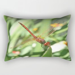 Red Skimmer or Firecracker Dragonfly Rectangular Pillow