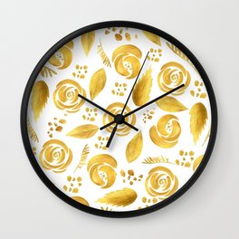 Hand painted faux gold white elegant floral pattern Wall Clock