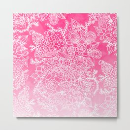 Modern girly floral pattern pink ombre watercolor pattern Metal Print