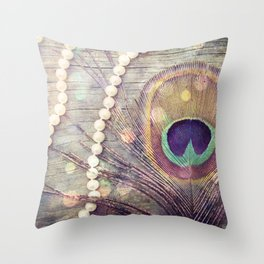 Feathers & Pearls Throw Pillow