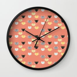 Kitties - Coral Wall Clock