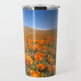 Blooming poppies in Antelope Valley Poppy Reserve Travel Mug