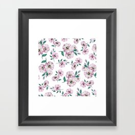 PINK FLOWERS WATERCOLOR Framed Art Print