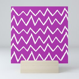 Hand-Drawn Zig Zag (White & Purple Pattern) Mini Art Print