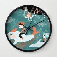underwater Wall Clocks featuring underwater by Orit Bergman