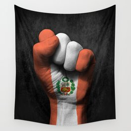 Peruvian Flag on a Raised Clenched Fist Wall Tapestry