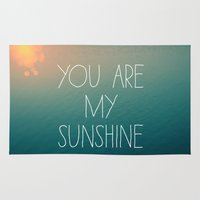 you are my sunshine Area & Throw Rugs featuring You Are My Sunshine by Alicia Bock