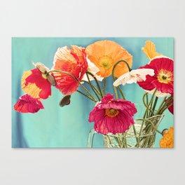 Bright Dancers - Vintage toned poppy flower still life Canvas Print
