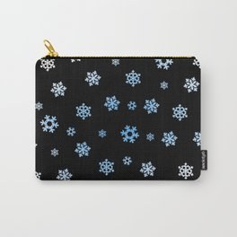Snowflakes (Blue & White on Black) Carry-All Pouch