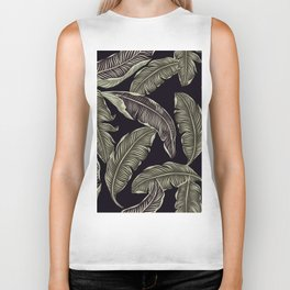 palm leaves black Biker Tank