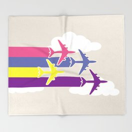 Colorful airplanes Throw Blanket