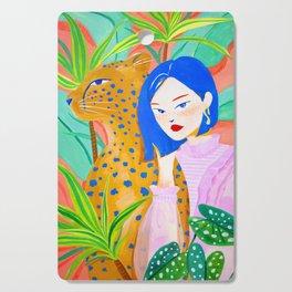 Short Hair Girl and Leopard in Garden Cutting Board